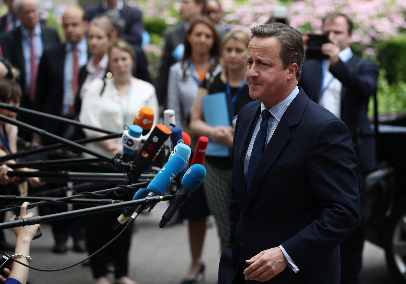 Former British Prime Minister David Cameron at a Council Meeting at the Council of the EU on June 28, 2016 in Brussels.