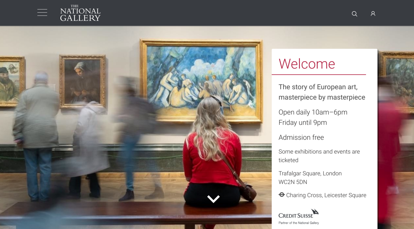 The National Gallery homepage