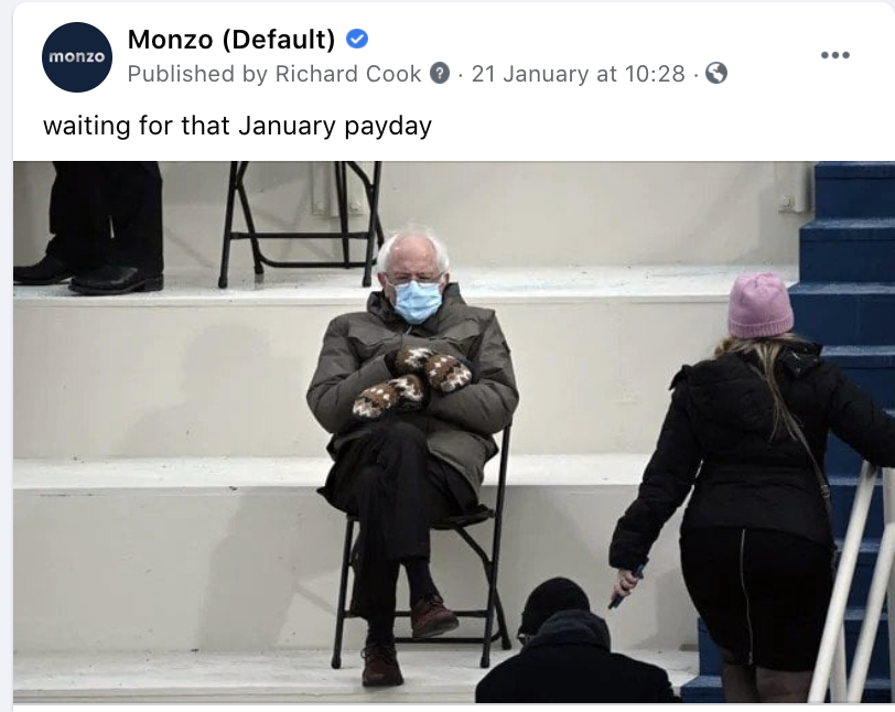 """a Facebook post of the Bernie Sanders mittens meme that says """"waiting for that January payday"""""""