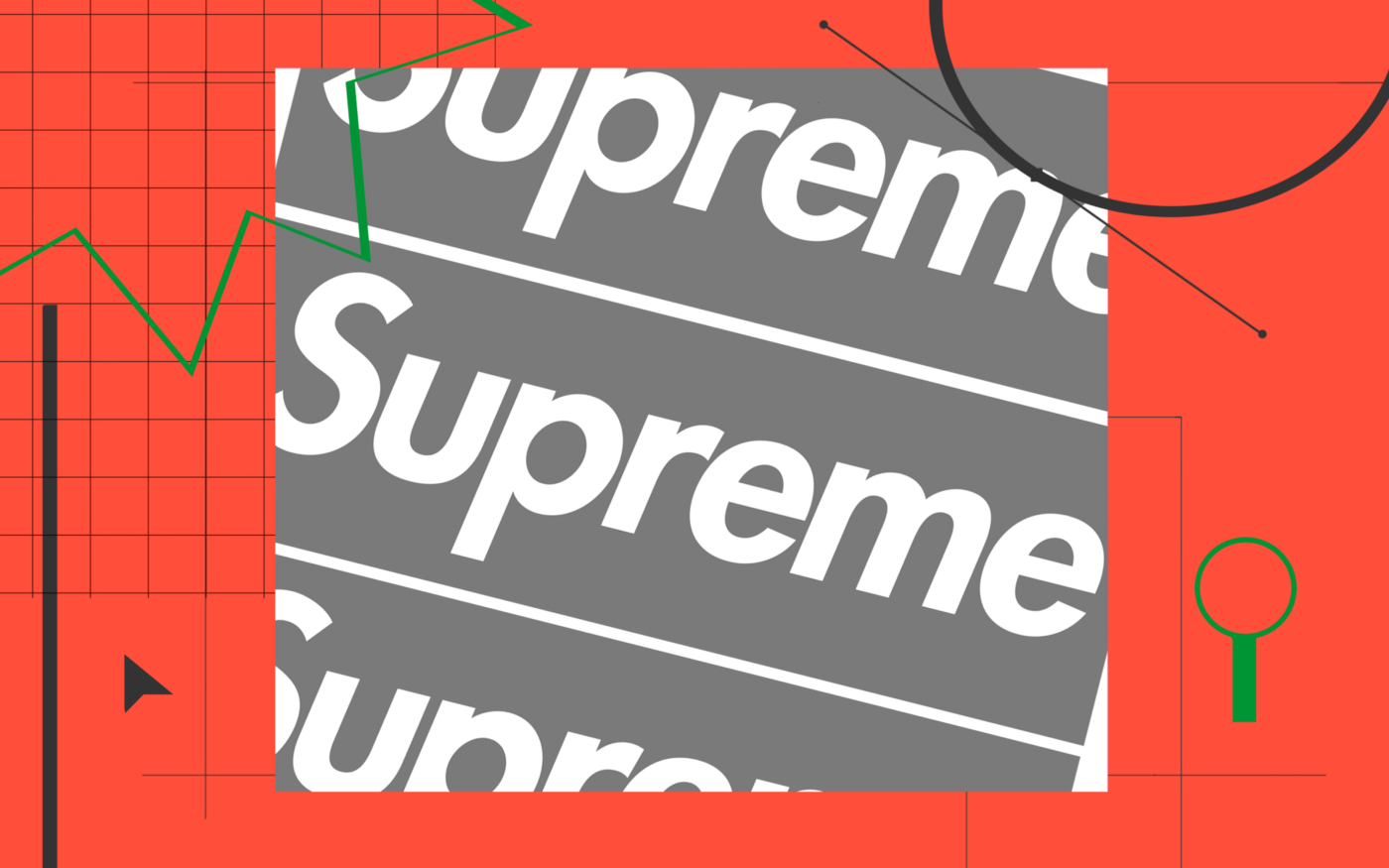 The Supreme logo replicated several times over a red background with various templated graphs and lines.