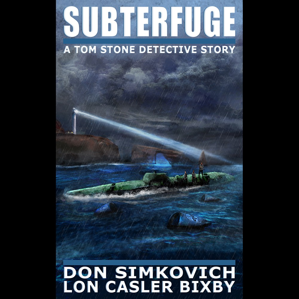 Book cover of Tom Stone: Subterfuge with lighthouse, narco sub in stormy water.