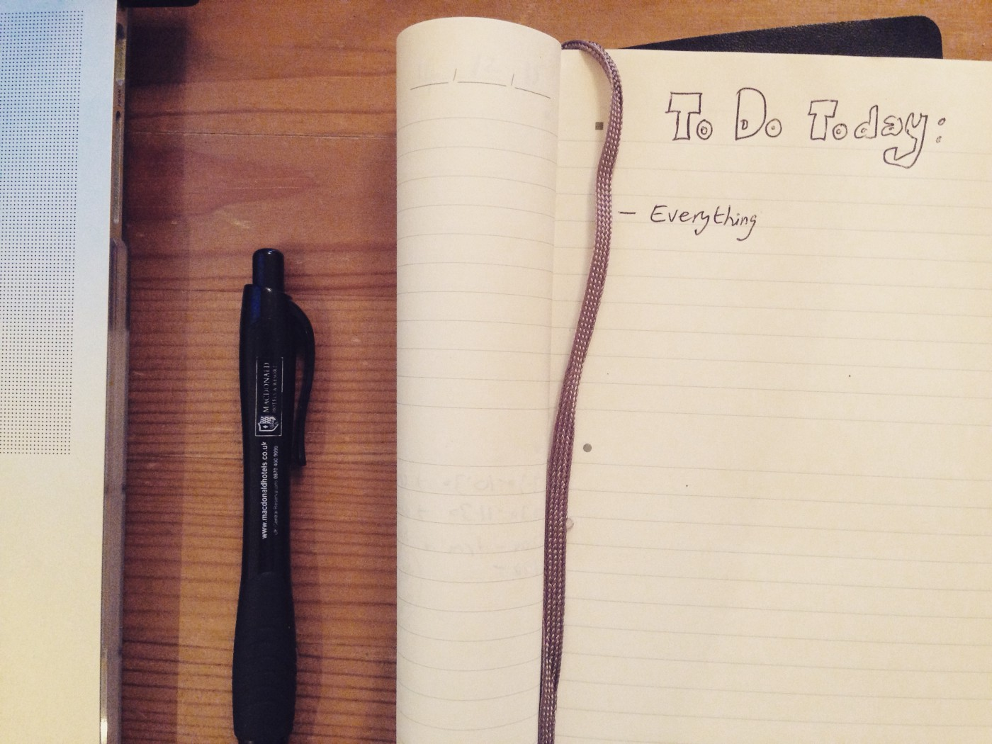 A journal with a 'to do today' list that simply says: 'everything'