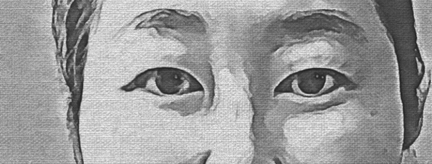 Image of the author's eyes, black and white