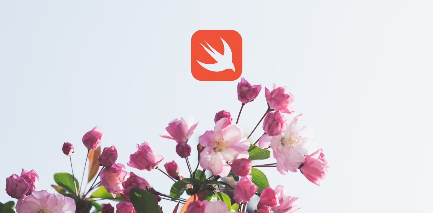 Swift logo over some flowers