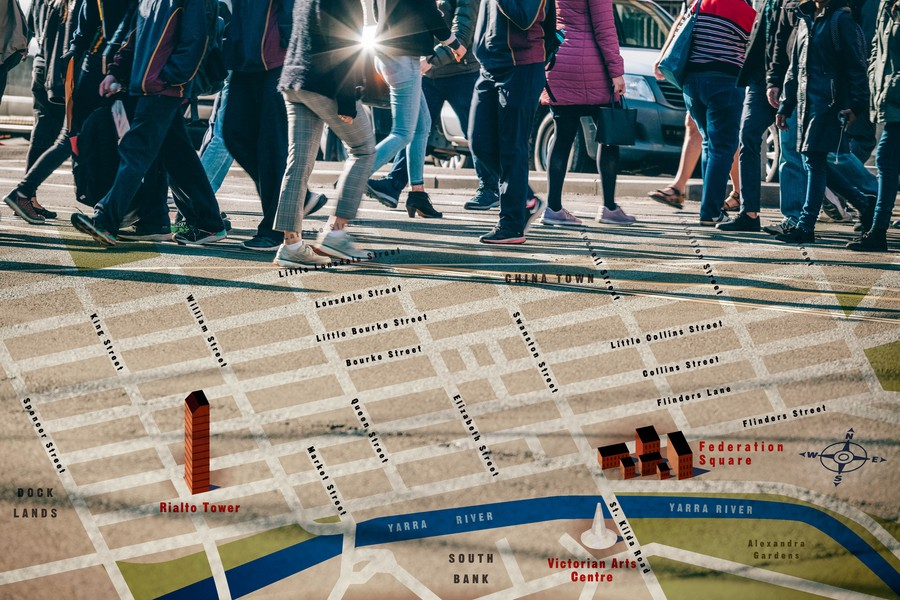 Map of Melbourne, Australia juxtaposed with pedestrians walking a city street.