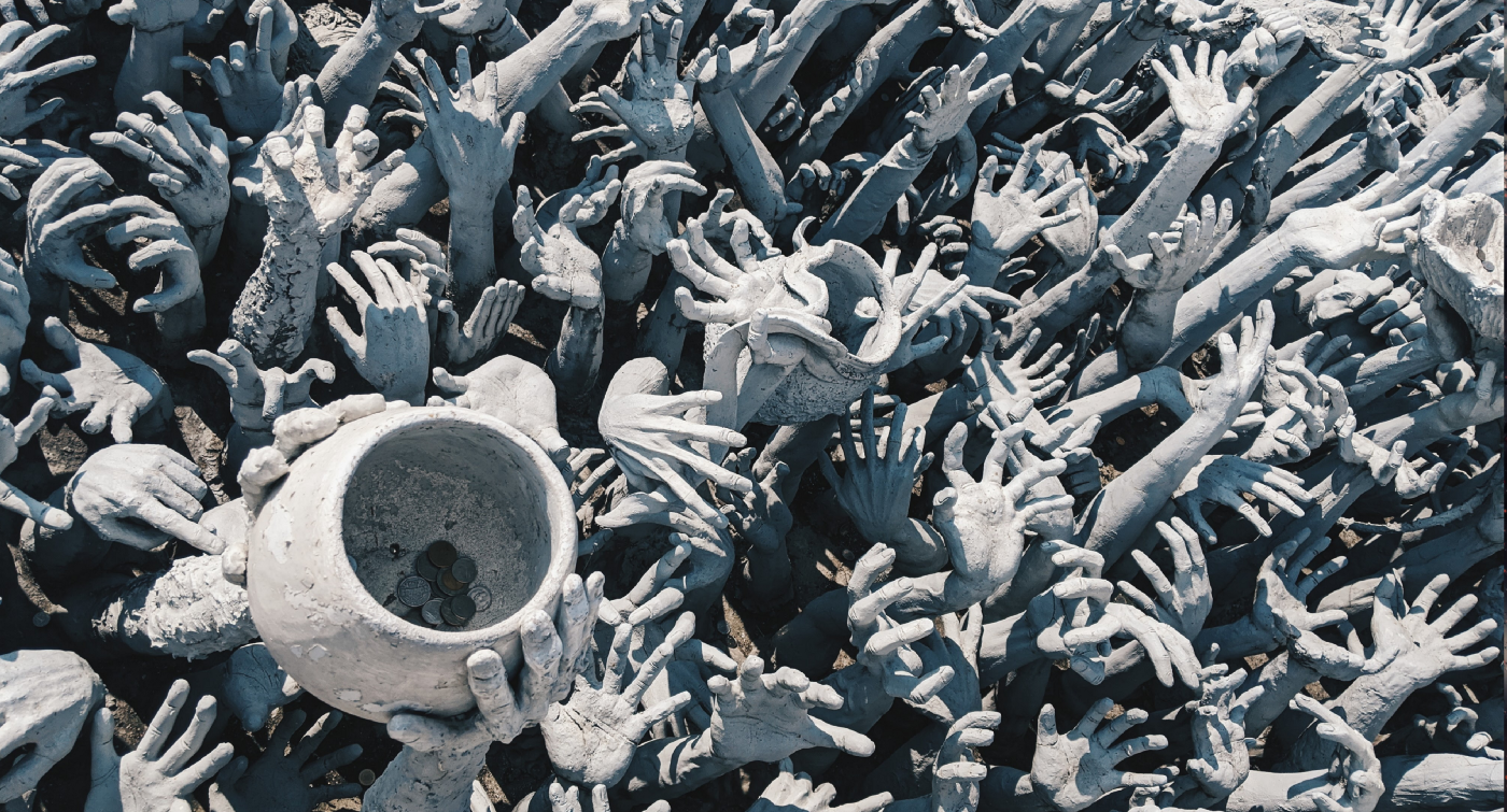 Sea of hands from  Wat Rong Khun (White Temple), Thailand