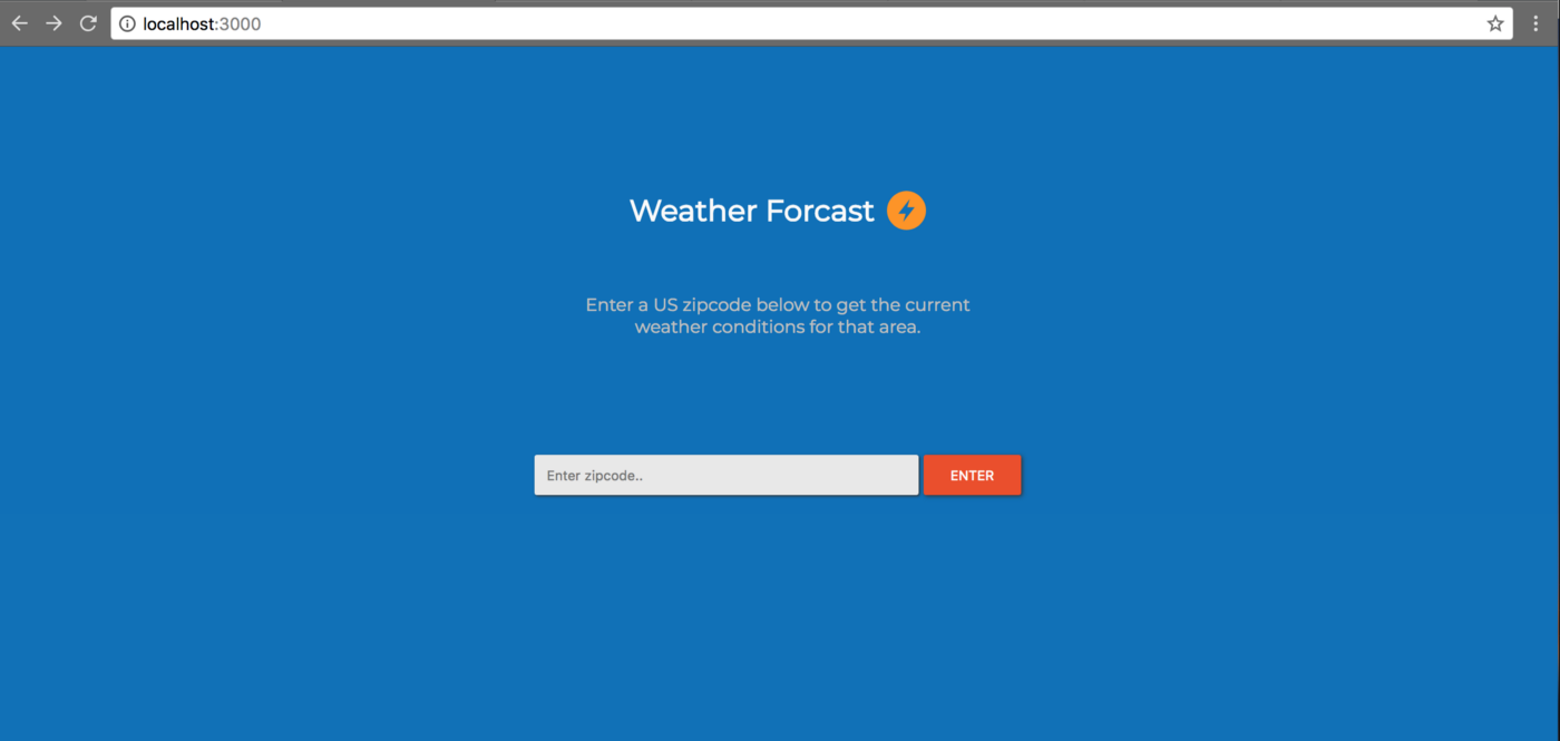 Create a simple weather app using Node js, Express, and React