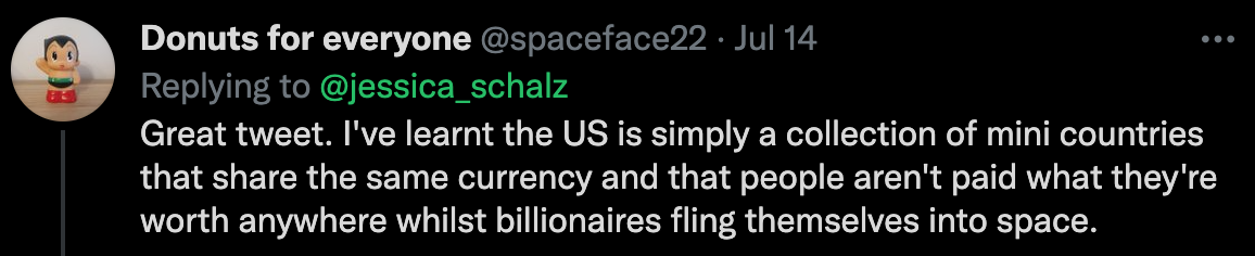 """A screenshot of a twitter reply from spaceface22: """"Great tweet. I've learnt the US is simply a collection of mini countries that share the same currency and that people aren't paid what they're worth anywhere whilst billionaries fling themselves into space."""""""