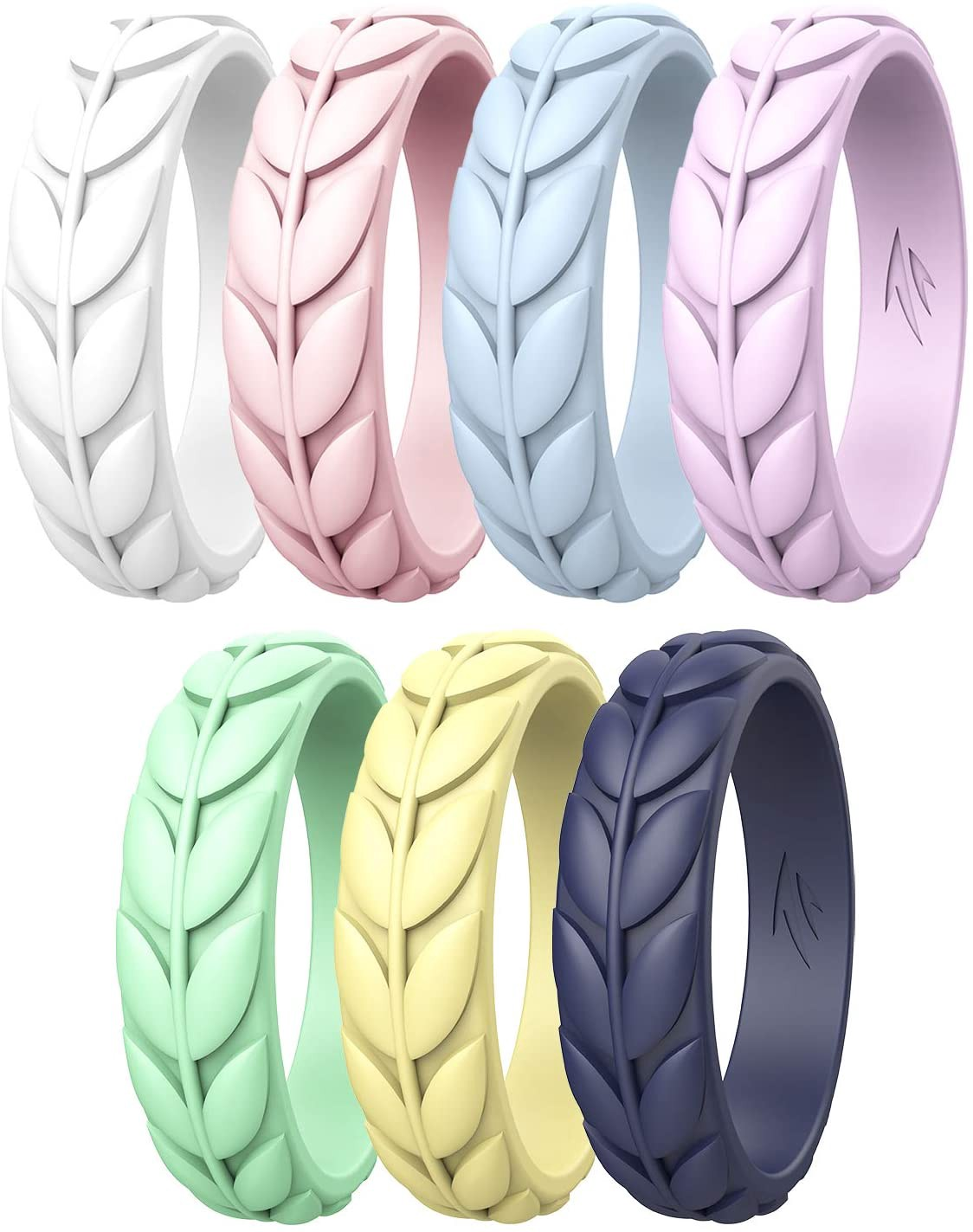 Silicone Wedding Rings for Women, Rubber Wedding Bands Stackable Ring, Hypoallergenic Silicone