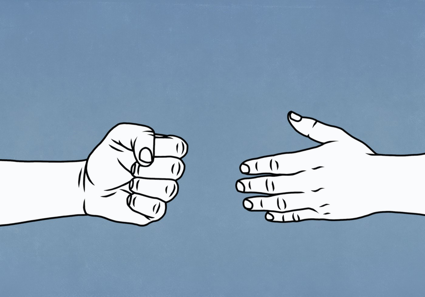 Illustration of a hand held out in a fist and an open hand extended toward it.
