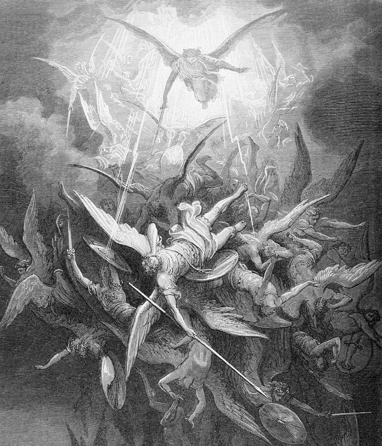 A painting of angels falling from heaven by Gustave Doré