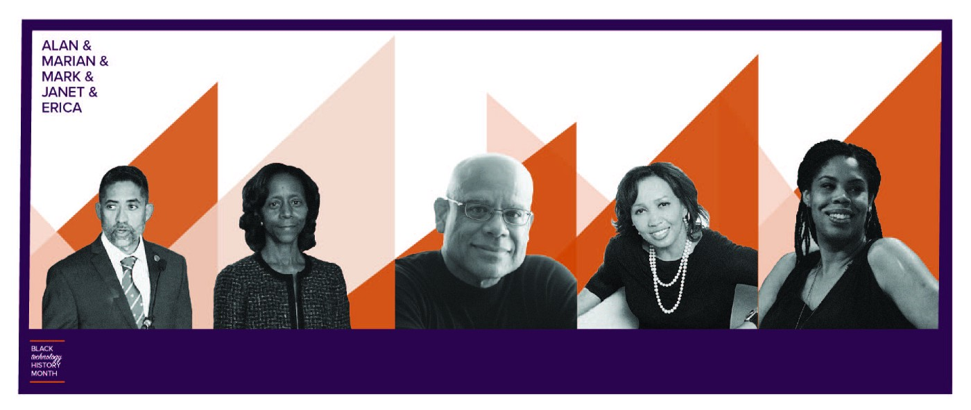 Graphic with images of five black technologists, and the words Alan & Marian & Mark & Janet & Erica