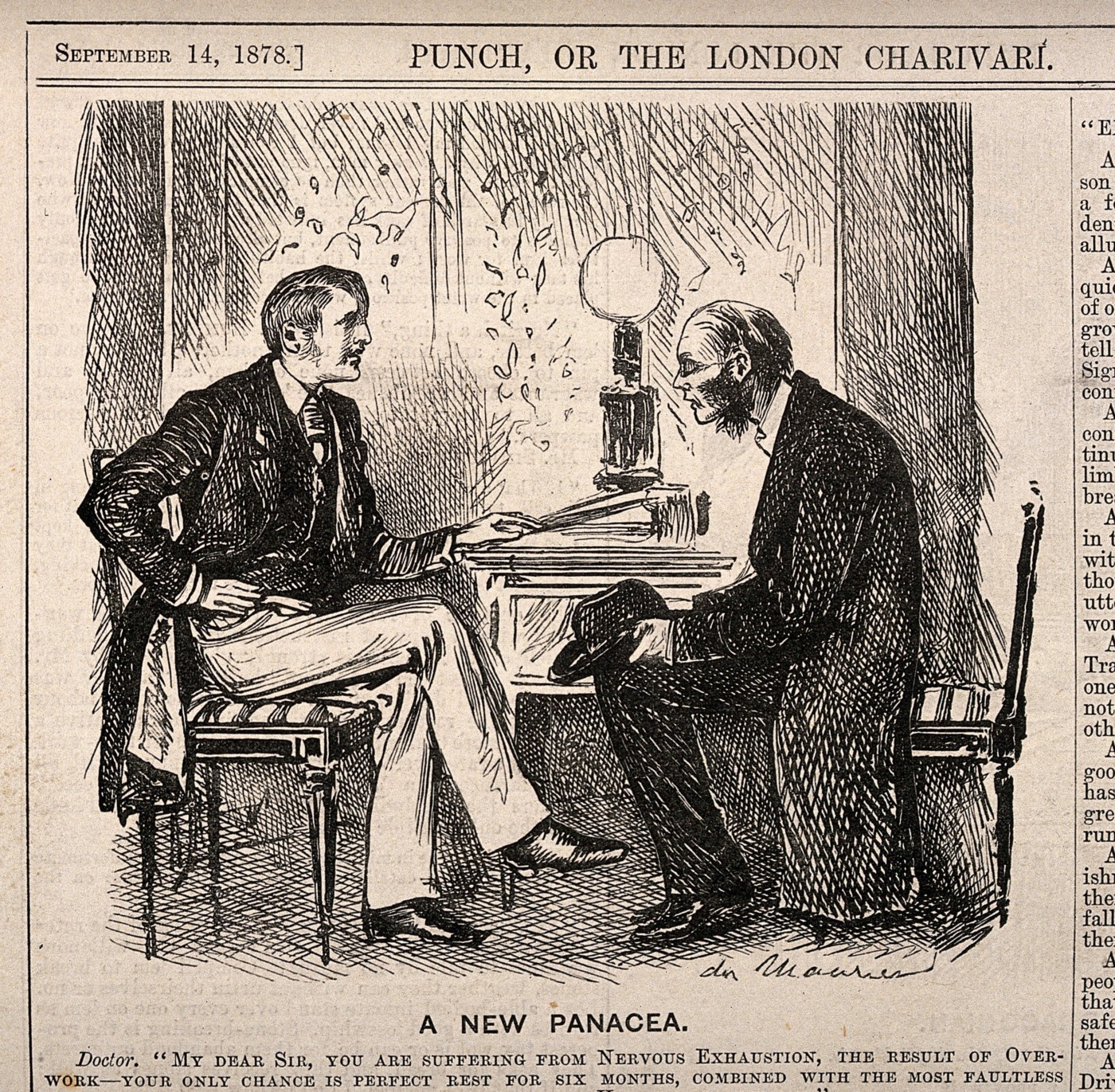 Old newspaper cartoon shows a doctor telling an exhausted patient to commit theft and spend time in jail in order to get rest