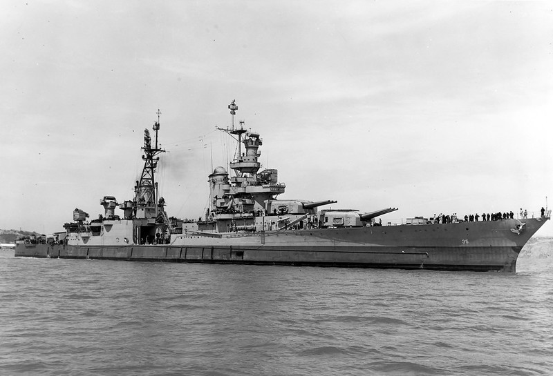 A black and white photograph from the right front of the USS Indianapolis. A US Navy warship that was sunk in the Pacific in World War II