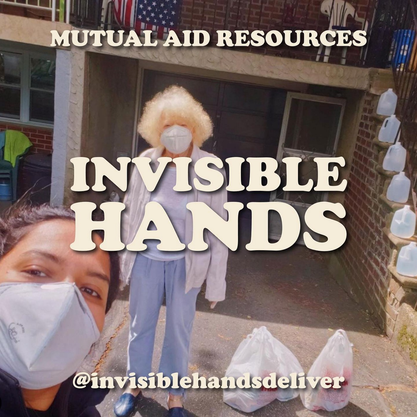 """Mutual aid serves the needy """"Invisible Hands"""" in Brooklyn serving those in need, in this photo one elderly woman."""