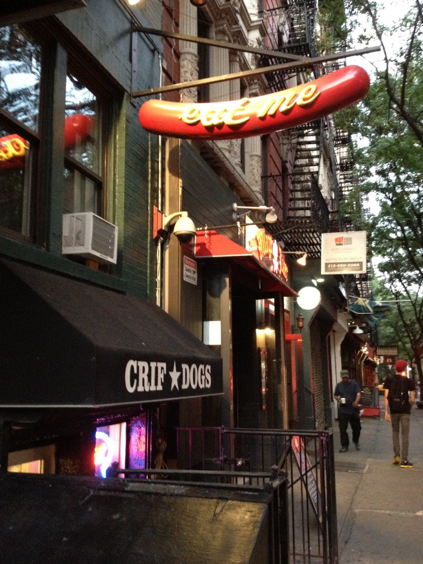 The entrance of the Crif Dogs restaurant in New York City.