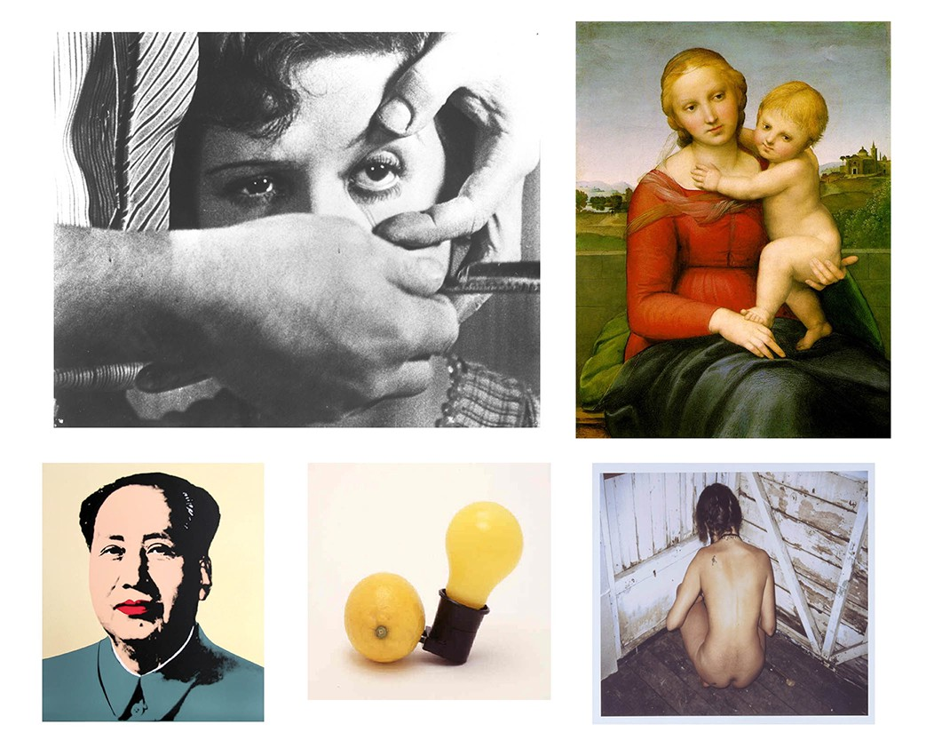 Collage of art images, some classical, some contemporary.
