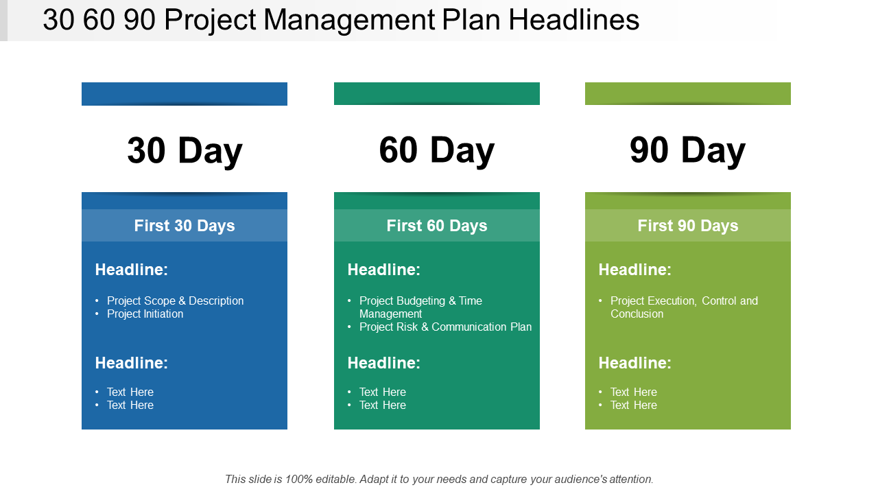30 60 90 Day Project Management PowerPoint Diagram Template