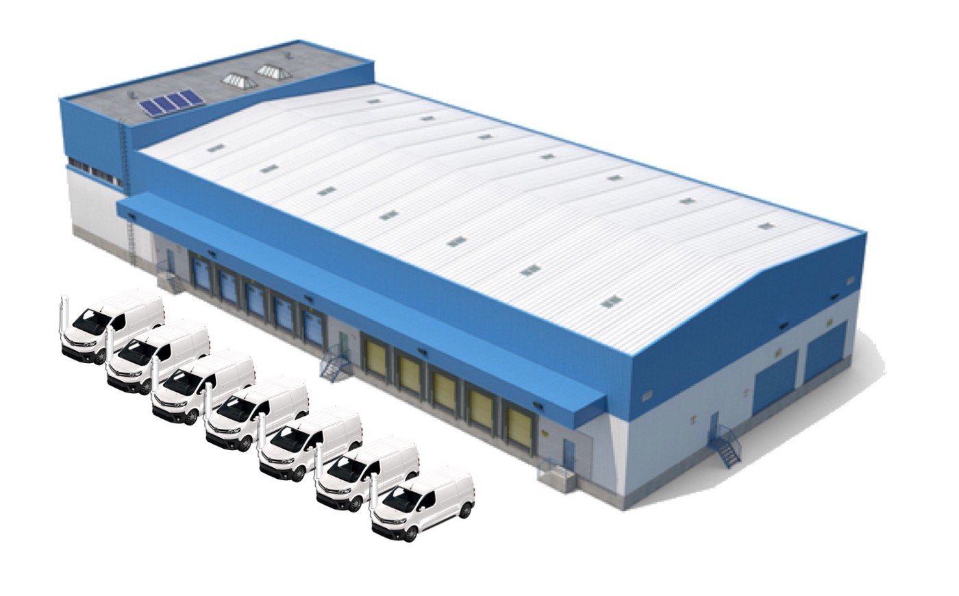 Electric middle mile logistic center with ev fleets
