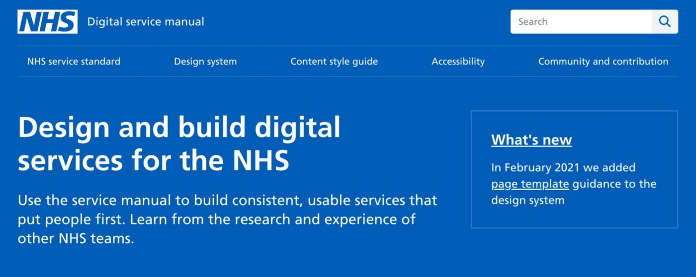 An image of the NHS design system library which can be accessed on https://service-manual.nhs.uk/