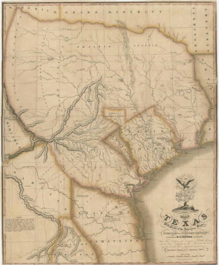 Map Program Austin Tx Map of Texas with parts of the Adjoining States   Save Texas