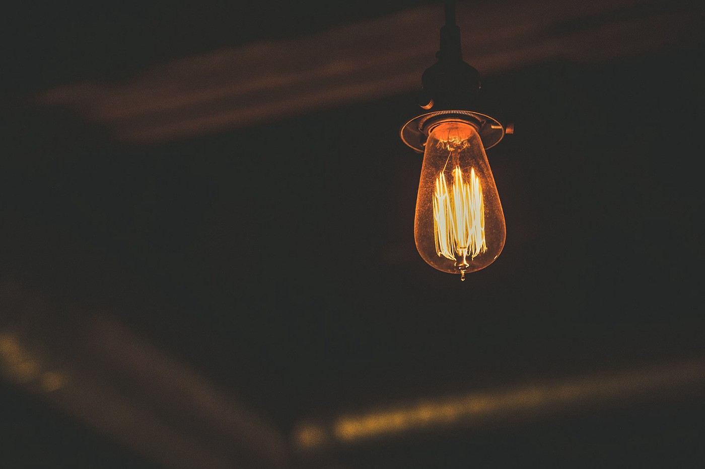 Photo of an old incandescent lightbulb