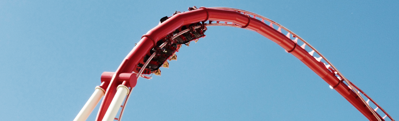 A loop at the top of a rollercoaster.