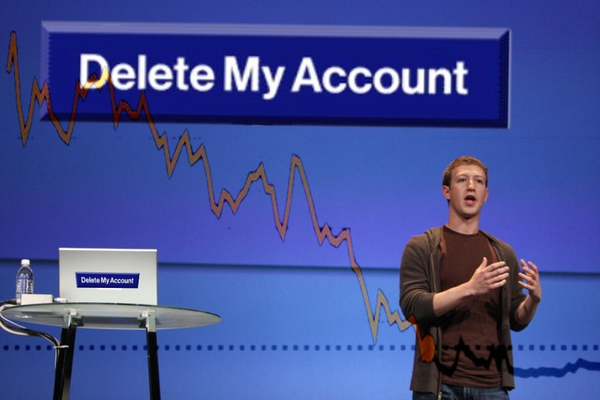 Mark Zuckerberg onstage, speaking in front of a large stock-report chart that shows a descending line, captioned with a Facebook 'Delete My Account' button.