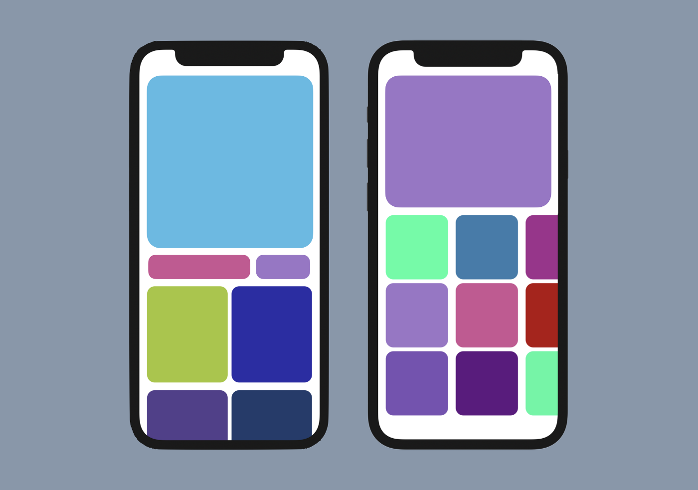 Drawing of layouts on phone screen