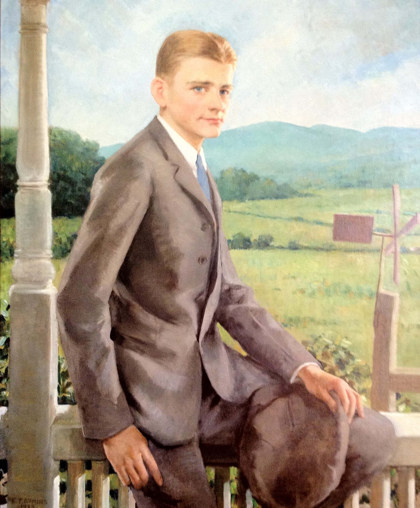 A painting of a U.S. president on his ranch