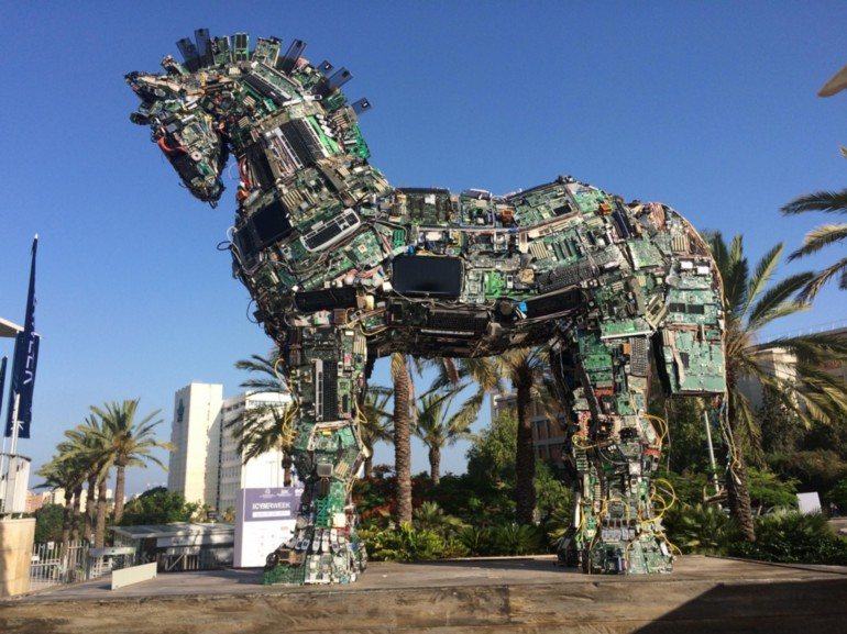A Trojan horse made of electronic hardware components