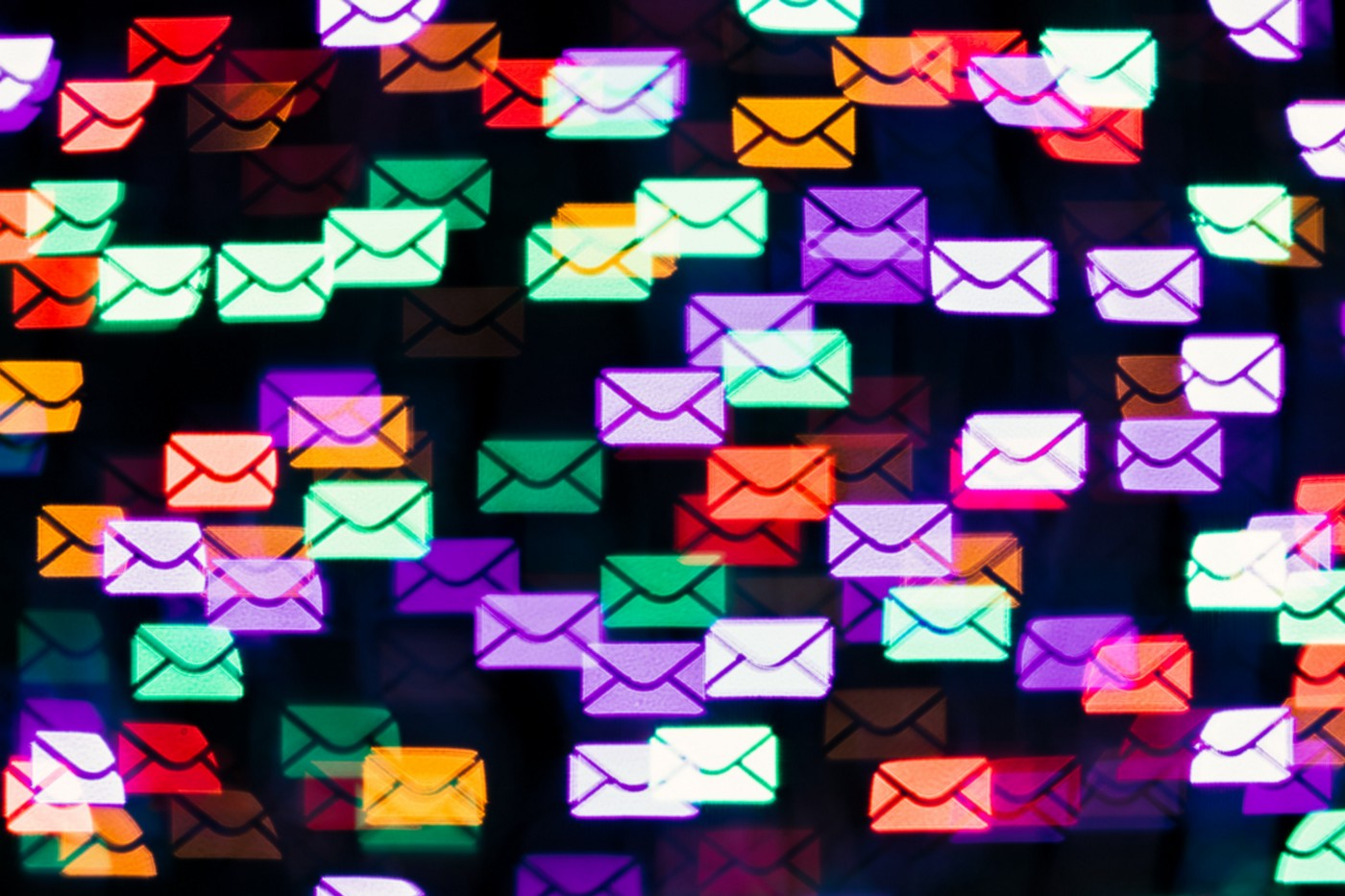 Colorful neon mail envelope notification icons across the screen.