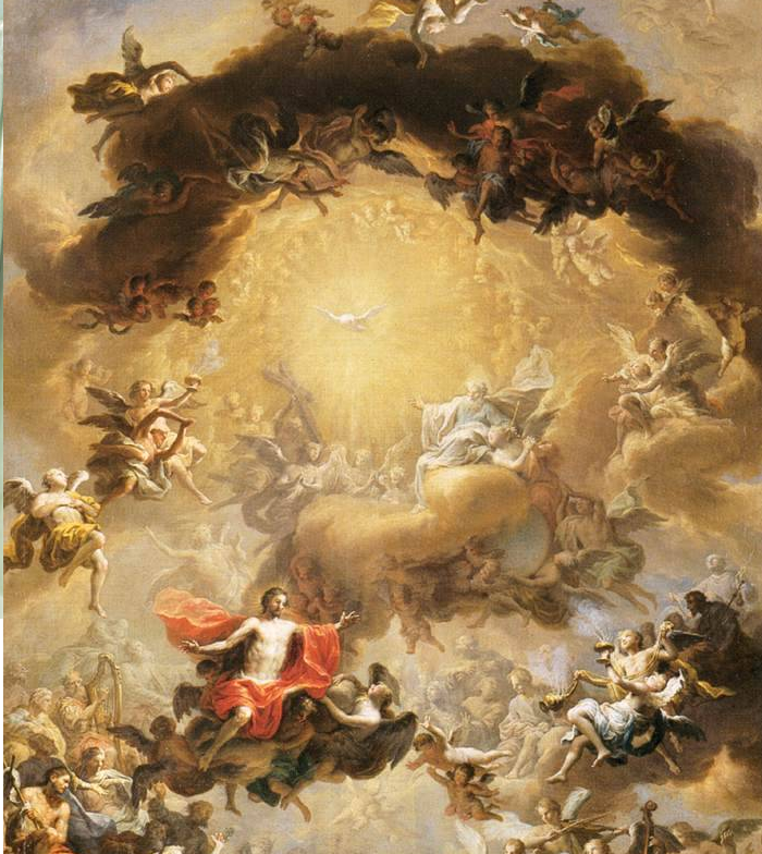 Painting of angels flying together in Heaven
