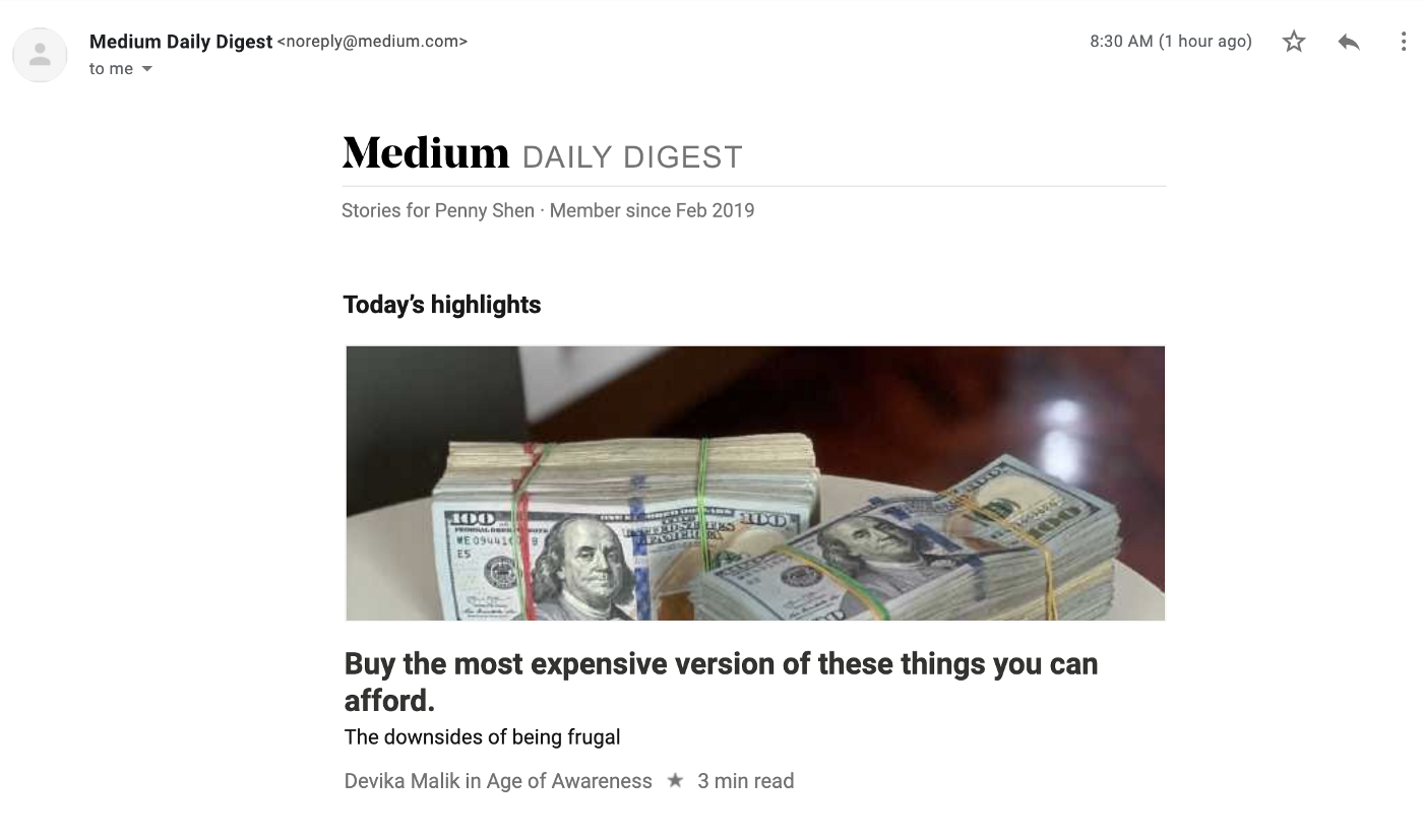 Screenshot of Medium Daily Digest