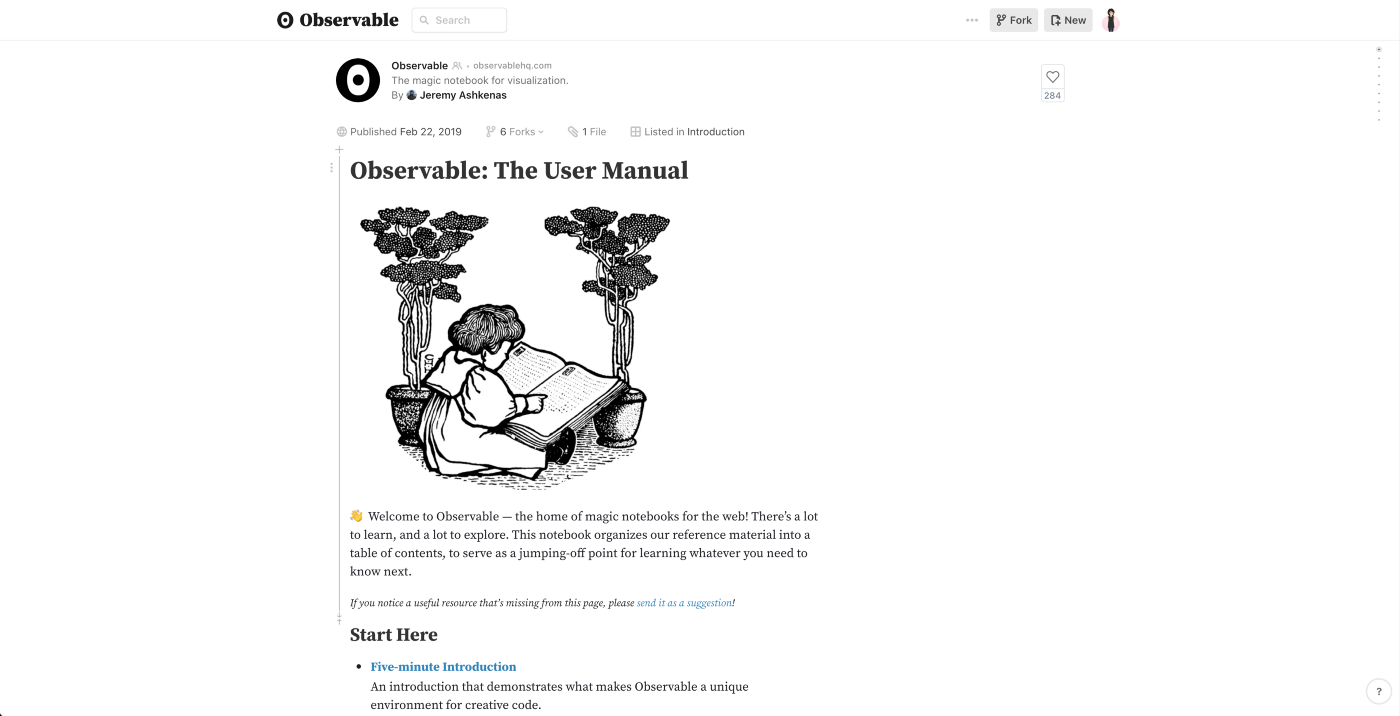 Screenshot of Observable's User Manual with an illustration of a child reading a book