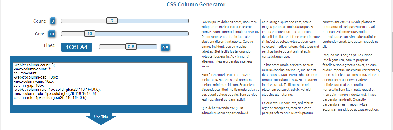 On the right side, we see a preview of the columns. On the left side, there are CSS codes and a box for the columns settings.