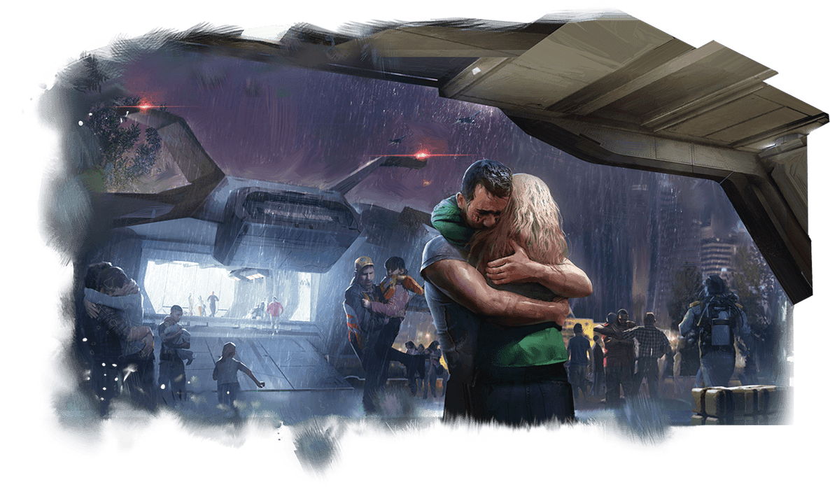 In the foreground a man and woman embrace in the rain. Behind them is a sci-fi transport aircraft unloading evacuees.