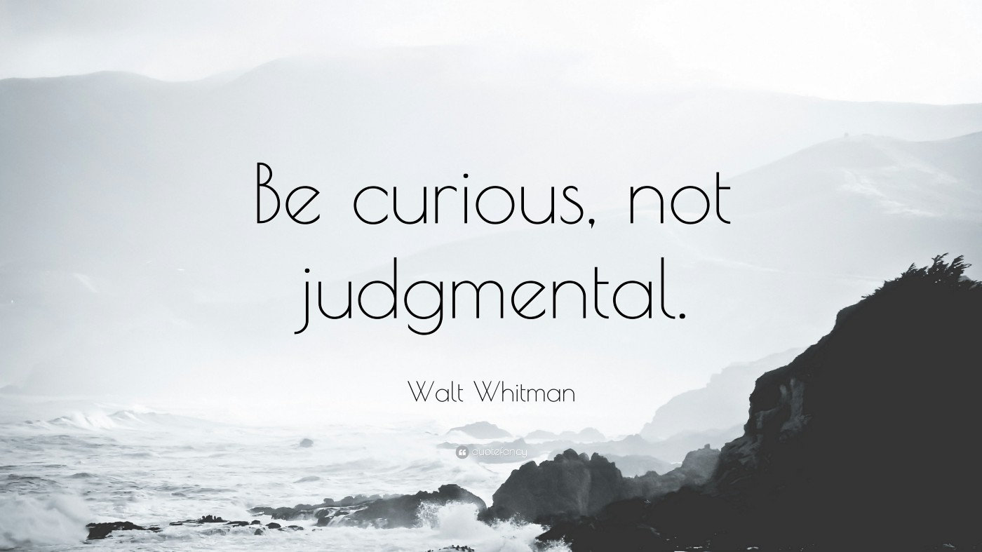 """A picture of the ocean crashing onto rocks with a quote by Walt Whitman that reads """"Be curious, not judgemental"""""""