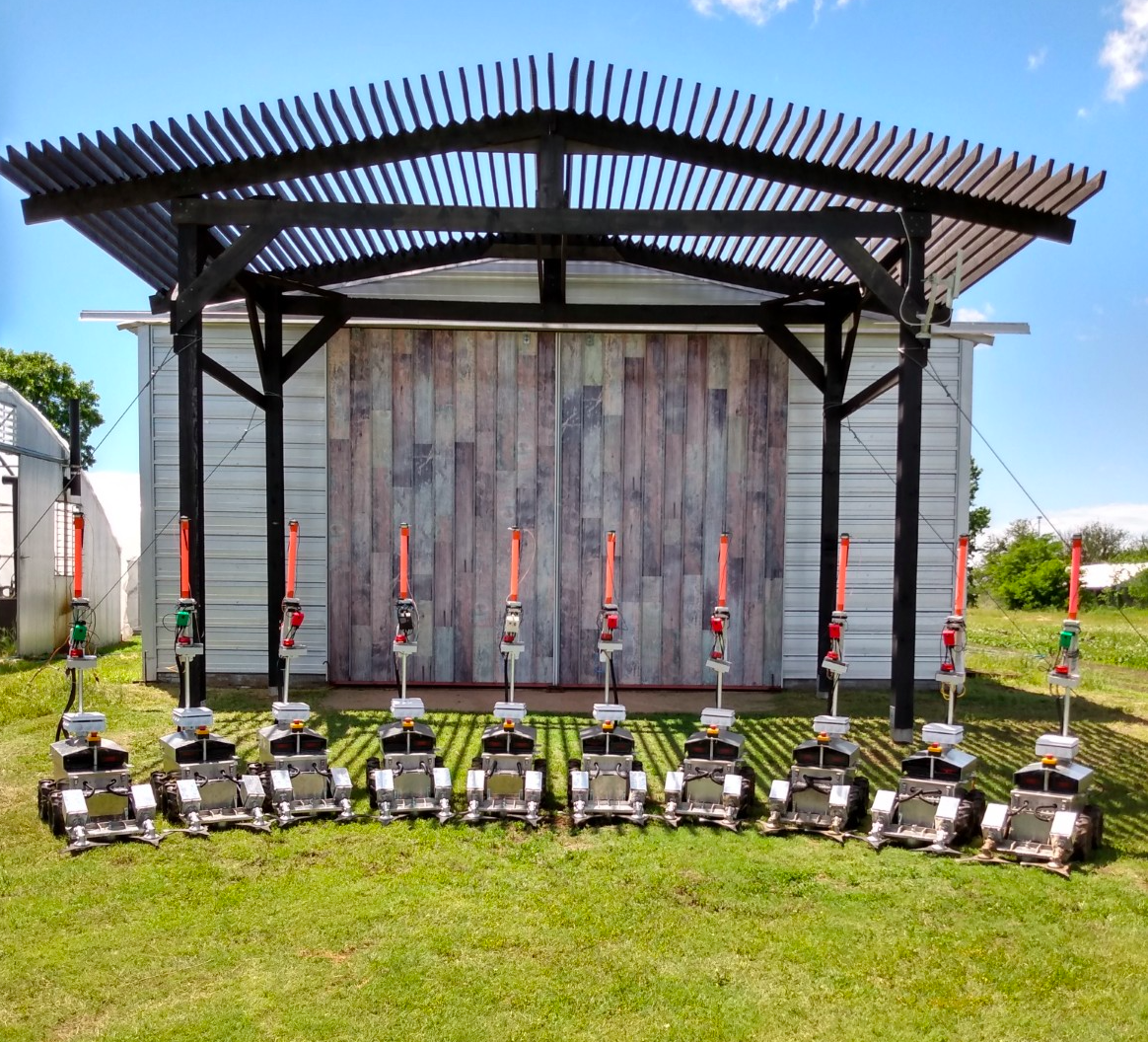 A row of the robots lined up in front of a shed.