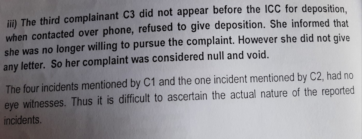 An extract from the ICC report on Ekalavya Chaudhuri.