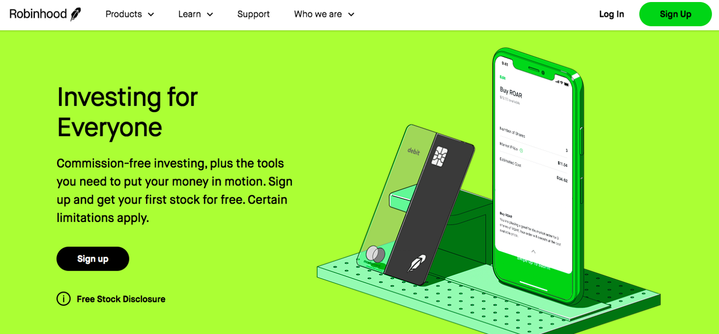 """Homepage of the Robinhood website. Background is green and it says """"Investing for Everyone"""". Picture of a phone and card."""