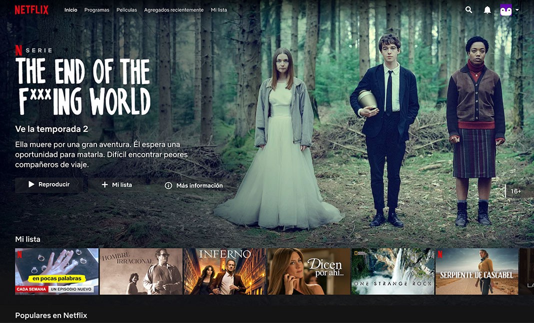 Screenshot of the Netflix website showing the hierarchy of the movies options