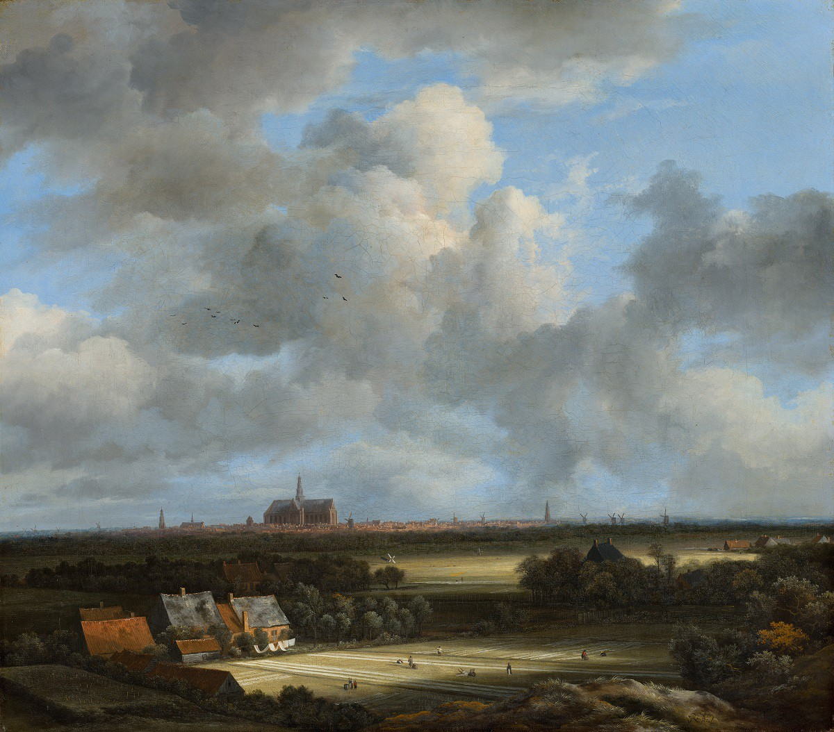 Painting of Dutch landscape with a church and cloudy sky