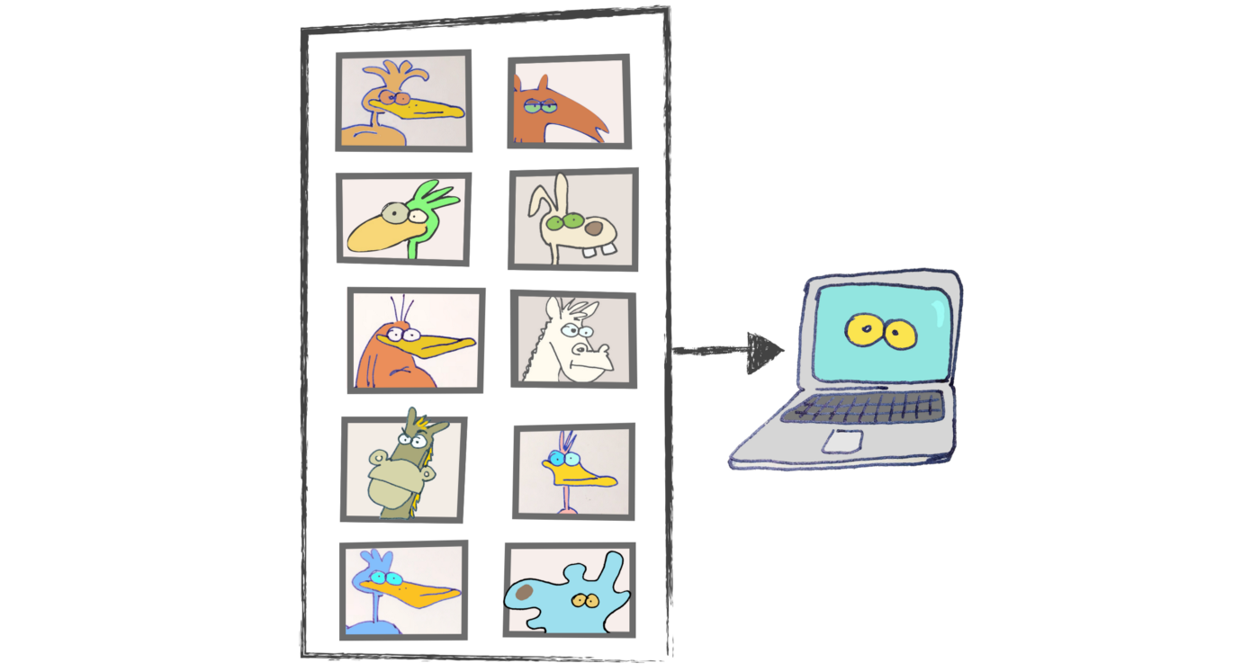 A machine learning system classifies pictures of animals.