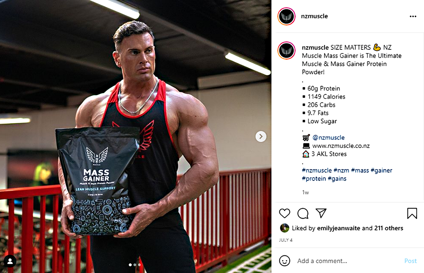 """IG post by nzmuscle """"SIZE MATTERS"""" with a photo of a man holding a large bag of """"Mass Gainer"""" protein powder"""