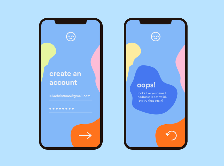 Account sign-up including feedback in form of an error message. Designed by Lula Christman.