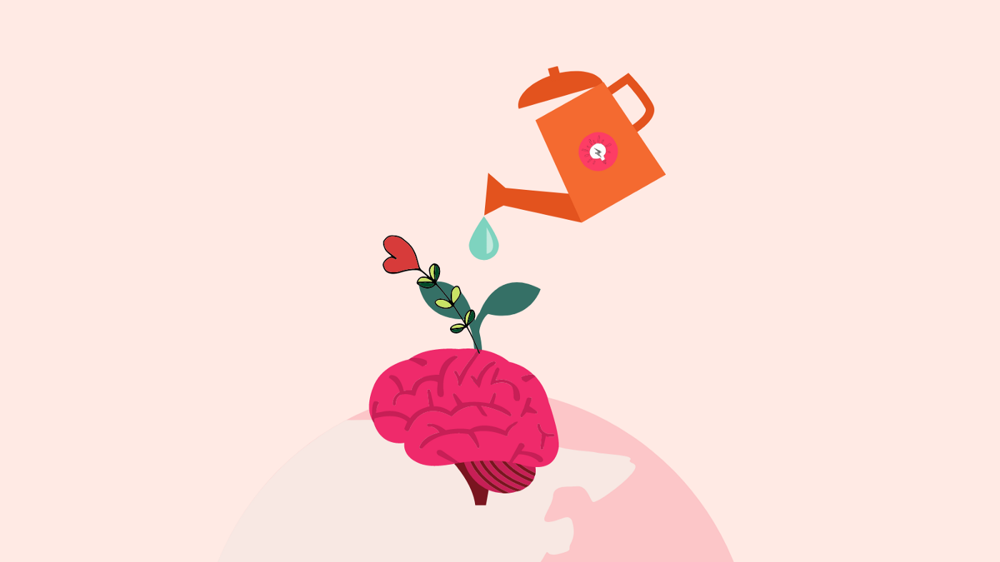 A watering can with Chayn's logo is watering a pink coloured brain that is sprouting flowers, leaves and a heart. The brain is on top of a globe.