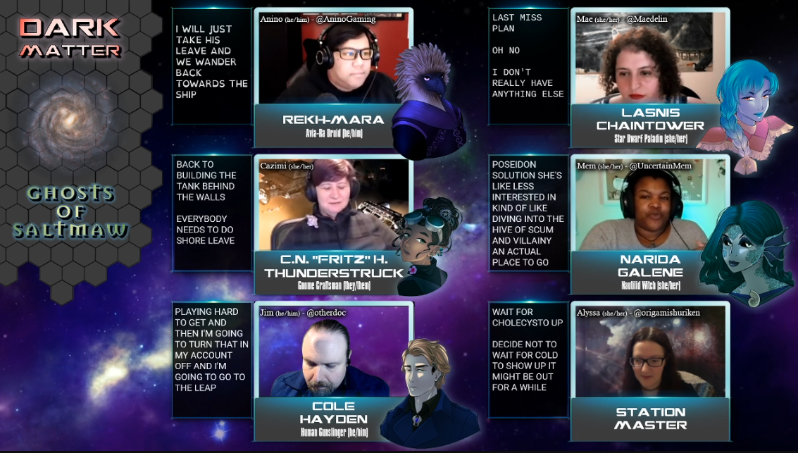 A screenshot of a Twitch stream. 6 people each have their own camera and personal overlay with names, links, captions, & more