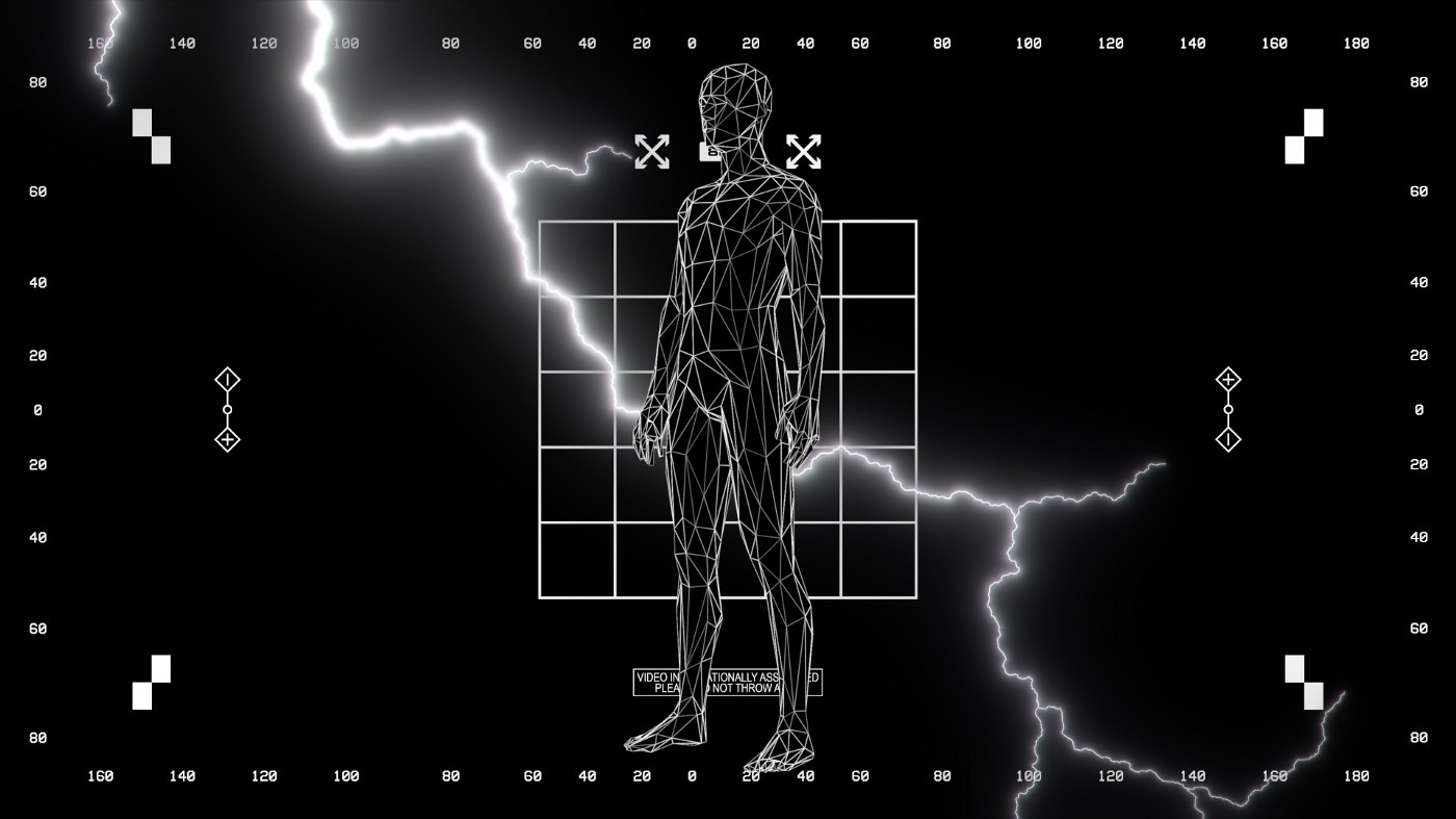 motion design screenshot of a sci-fi character with lightning behind him