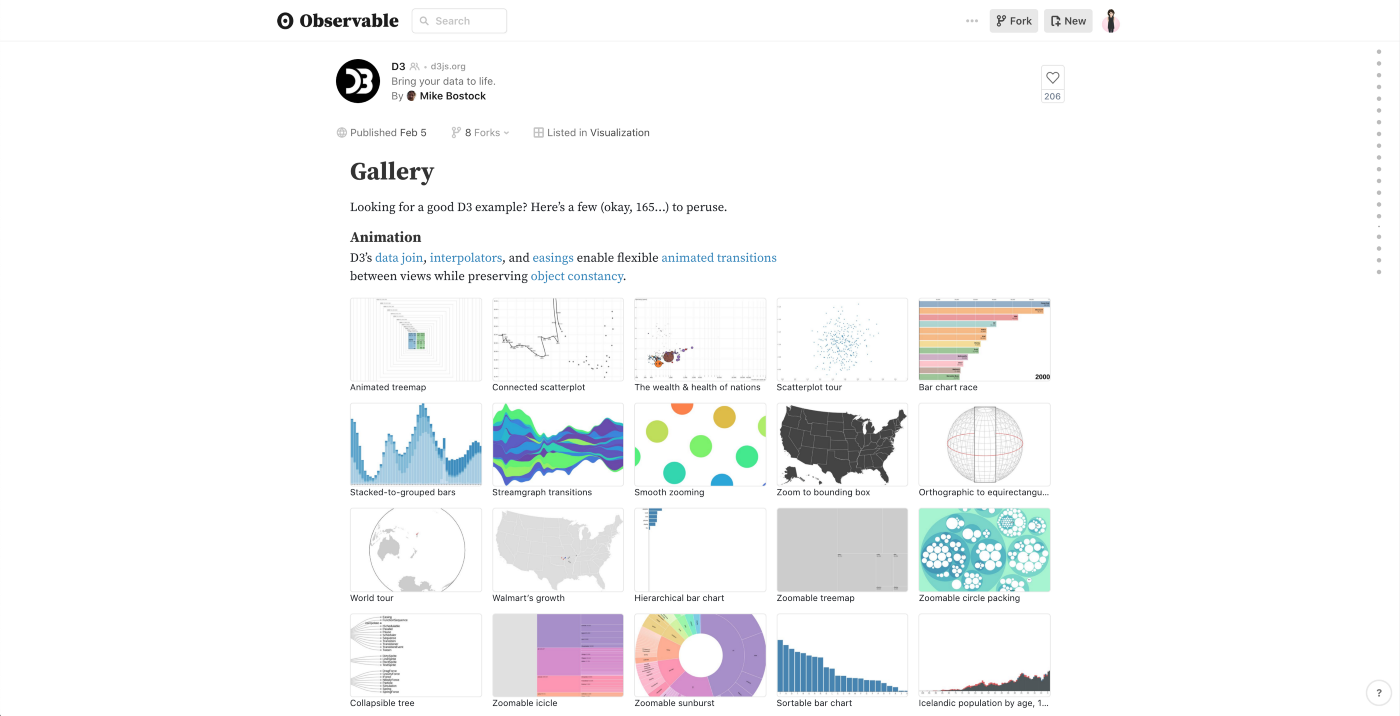 Screenshot of Gallery notebook showing 20 thumbnails of visualizations in other notebooks